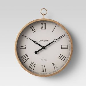 "10"" Thin Pocket Watch Clock Brass - Threshold"